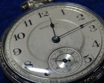 Howard 19 Jewels 10 Size Pocket Watch In White Gold Filled Case