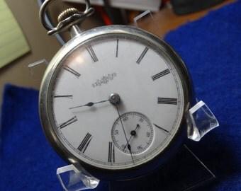 Vintage Illinois 18 Size Pocket Watch-Train Motif Case