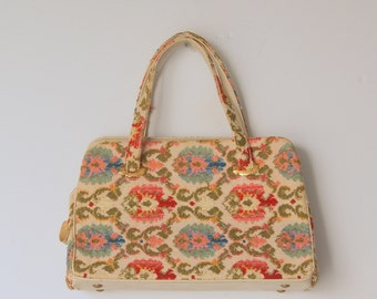 Vintage 1960s Floral Tapestry Carpet Bag Purse