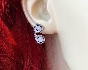 Handcuff Earrings, Bachelorette Party Gift For Bride, Handcuff Jewelry, Bachelorette Party Gifts, Handmade Earrings, Shrink Plastic Jewelry