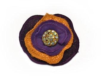 Lapel Pin, scarf pin, hat pin, fabric flower pin, purple / gold flower brooch, fiber art corsage, OOAK