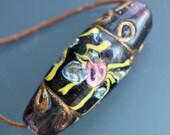 Fancy Venetian Trailed Amethyst Glass Trade Bead