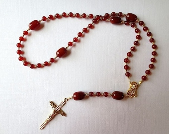 Carnelian Catholic Rosary with Scapular Medal Center, Orange Red Rosary Beads