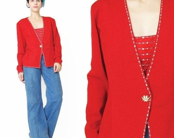 25% off SALE 30 Percent OFF SALE Vintage St John Evening Red Cardigan Sweater Crystal Sparkly Diamante Party Sweater Designer Embellished Re