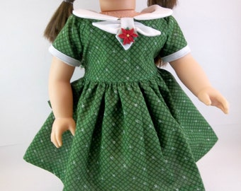 18 inch Doll Dress Fits American Girl Doll  Christmas Holiday Dress Dark Green Snowflake