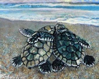 Soul Mates - sea turtle, sea turtle art, marine life art, sea life art, nautical theme, sea turtle card, honu, Michaeline McDonald