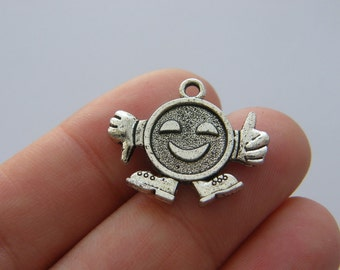 6 Smiley face thumbs up charms antique silver tone M158