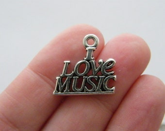 8 I love music charms antique silver tone MN57