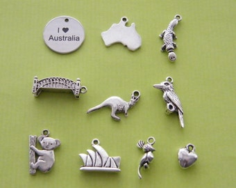 The I love Australia collection - 10 different antique silver tone charms