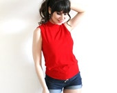 ON SALE Red 60s Blouse / 60s Red Stretchy Knit Shell Sleeveless Turtleneck Blouse