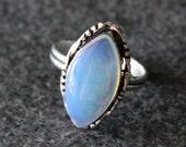 Vintage Gemstone Glass Ring silver 925