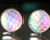 IRIDESCENT Mermaid Scales Stud Earrings, Dragon Scales,Boho Jewelry