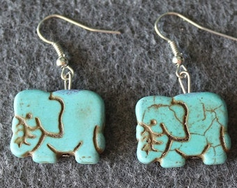 Elephant Howlite Earrings