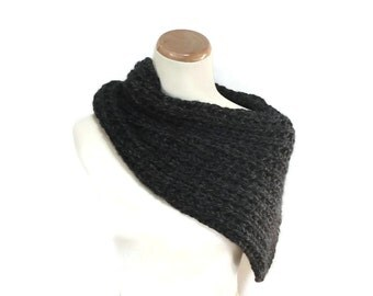 Charcoal Cowl, Chunky Scarf, Gray Scarf, Knit Scarf, Knit Cowl, Hand Knit Scarf