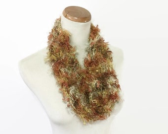 Knit Scarf, Gold Scarf, Fashion Scarf, Knit Cowl, Cowl, Circle Scarf, Fiber Art, Loop Scarf, Fall Scarf, Gift For Her, Knit Scarf