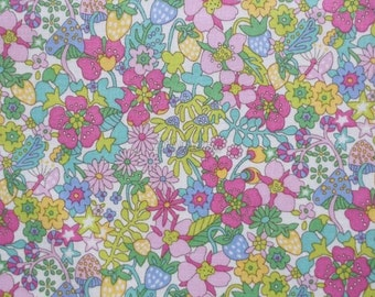 Liberty tana lawn printed in Japan - Flower tops - Rose yellow green mix