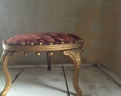 ON HOLD Antique petite footstool | home decor | furniture | gilded boho home | undertaker ad underneath