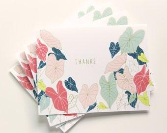 Set of 8 Hand Illustrated Thank You Cards - Caladium