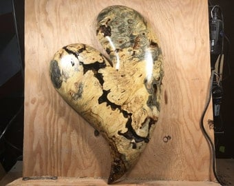 On HoLD FoR JiM - Heart best gift ever 50th Anniversary gift heart wood carving wall wood sculpture by Gary burns