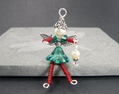 MERRY Christmas Fairy Ornament - Christmas Ornament - Wine Bottle Decoration - Holiday Faery - Beaded Faerie - Pixie Charm - Zipper Pull