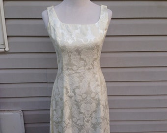 Ivory Sleeveless Damask Dress - Vintage Wedding Dress