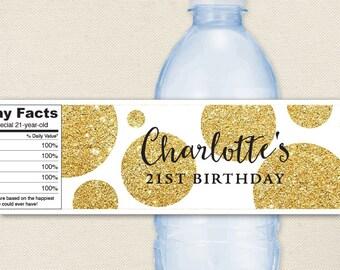 Gold Glitter Polka Dot Water Labels - 100% waterproof personalized water bottle labels