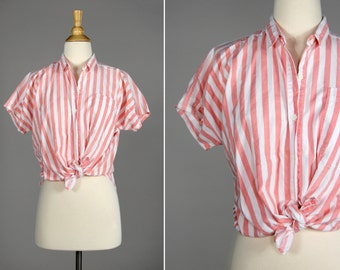 Vintage Peach Striped Button Up Shirt- Pink, White, Summer Blouse- Size Medium or Large M L