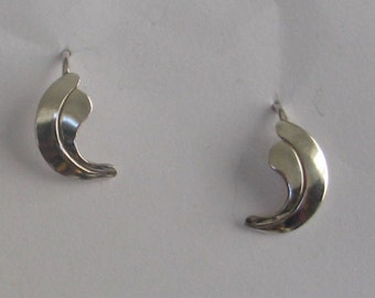 SALE Sterling Silver Leaf Earrings  w attached wire