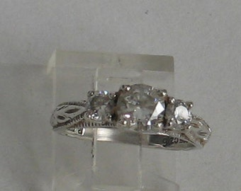 Size 6   Engagement  Sterling Silver Ring