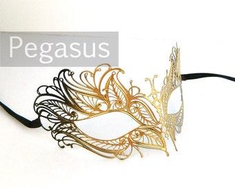 Gold Black Swan Princess Venetian Filigree Scroll work Metal Masquerade Mask (5 color option) Laser Cut light weight and flexible Mask