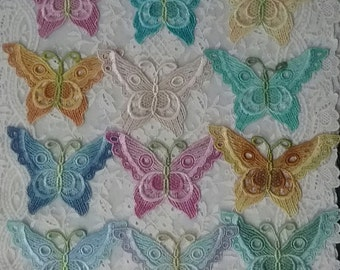 Venise Butterfly Lace Embellishment Hand Dyed Applique Trim