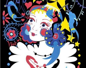 Fille Du Cirque Russe Limited Edition Print - Circus Art Print - Artwork for Children