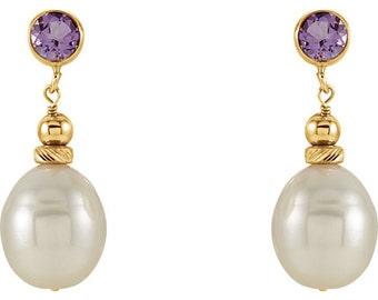 Gemstone & Pearl 14kt Yellow Gold Dangle Earrings, June Birthstone, Amethyst earrings, Blue Topaz earrings