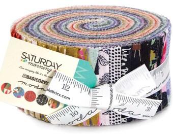 "Saturday Morning Jelly Roll by Basic Grey for Moda Fabrics 30440JR 40 2.5"" x 42"" Fabric Strips"