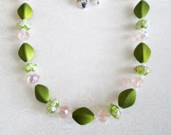 Amazing Grace Diva Necklace - Pink and Lime Green Lampwork Beads - Lime Green Beads - Lovely - Summer Fun - Feminine - Chic and Classy Diva