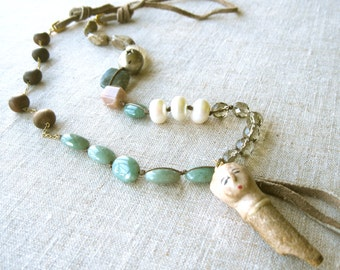 Vintage Doll Head Assemblage Necklace - Antique - Long Boho Bohemian Necklace - Pendant Necklace - Statement Necklace - Beaded Necklace