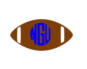Large Football with monogram or player number vinyl car decal