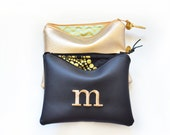Personalized Set Bridesmaid Gift Idea for Her Monogram Embroidered Clutch Purse Custom Women Pouch Gold Black Leather Metallic Makeup Bag