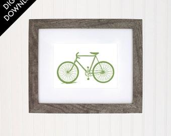 Bike Bicycle art print, baby nursery, home decor, digital download
