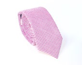 Hot Pink Seersucker Mens Tie  Fuchsia Stripped Necktie  Completely Custom   Skinny or Extra Long