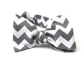 Men's Bow Tie - Chevron - Grey and White - for men -  Diamond Point or Butterfly Bowtie - Freestyle - Adjustable