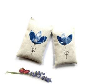 Lavender rose sachets, organic tie dyed Shibori indigo blue sachet, drawer freshener, large sachets, blue wedding, bridal shower favors