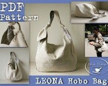 PDF Sewing Pattern to make Hobo Bag Sling Tote Leona INSTANT DOWNLOAD knot strap handbag Buy one tutorial and get one free