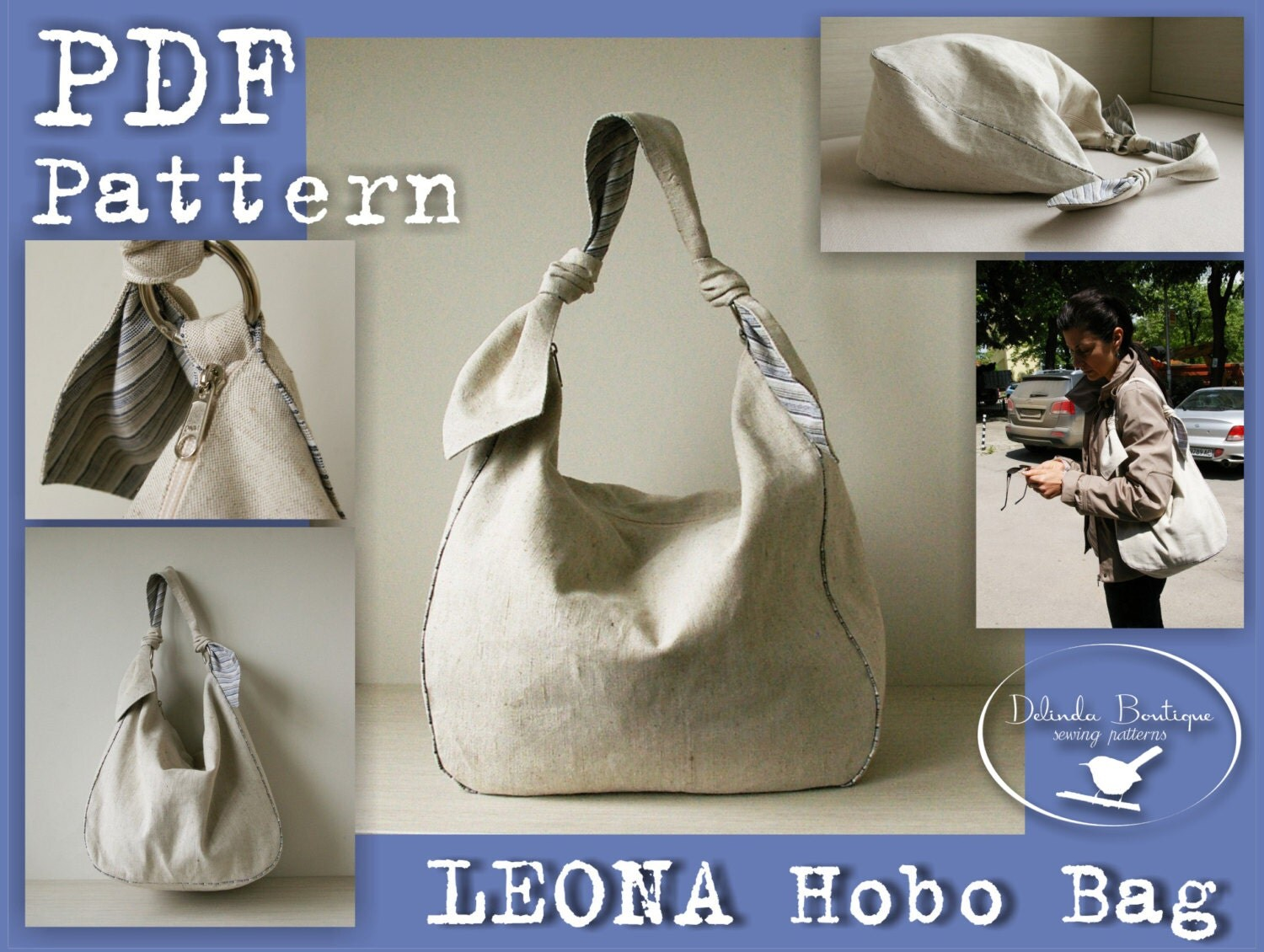 PDF Sewing Pattern to make Hobo Bag Sling Tote Leona INSTANT