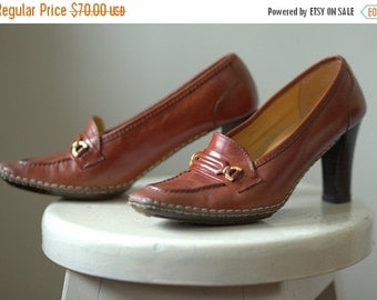 Vintage 1950s Loafers 1960s Loafers Womens Leather Loafer Pumps Brown Pumps Brown Heel Loafers 1960s Pumps Andrew Geller Unworn Size 8 38