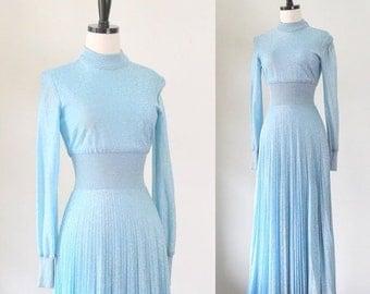 Blue Maxi Dress 1970s Dress Blue Sweater Dress Long Sleeve Maxi Dress Baby Blue Long Dress 1970s Clothing Accordion Pleated XS SM