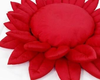 meditation cushion-yoga buddha art-lotus flower-yoga art for home-round beach mat-wedding seating-red pillow-garden nursery decor-yoga mat