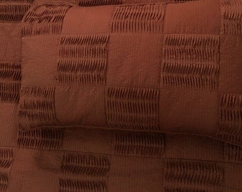 chocolate brown, pleated patchwork cal king size coverlet,114x120inches with pillows 20x36 inches,solid colour bedding