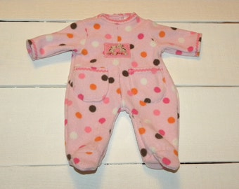 Polka Dot Patterned Pink Fleece Footed Sleeper - 14 - 15 inch doll clothes