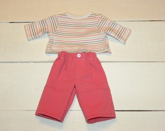 Coral Pink Pants and Striped Tshirt - 14 - 15 inch doll clothes